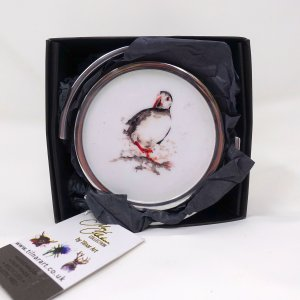 Puffin metal Coasters with holder
