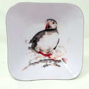 Trinket Dish Metal Puffin