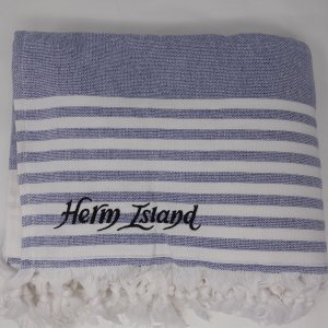 Herm island beach towel Sea ranch - navy striped